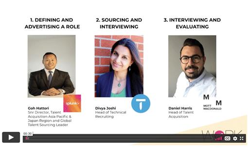 Screenshot of panelists in the diversity in recruitment webinar