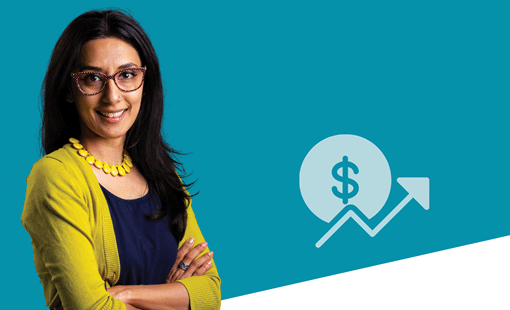Picture of woman and icon of money symbol with arrow going up