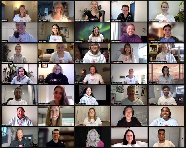 WORK180 team shot from a live zoom call